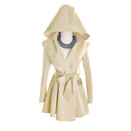 Fancy Dress Store Women's Hooded Coat Trench Outerwear Dress with Belt