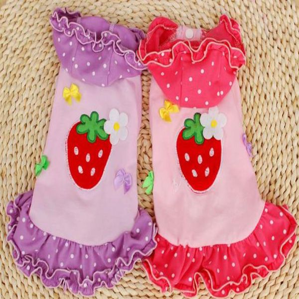 Pet Dog Lovely Strawberry Lace Skirt