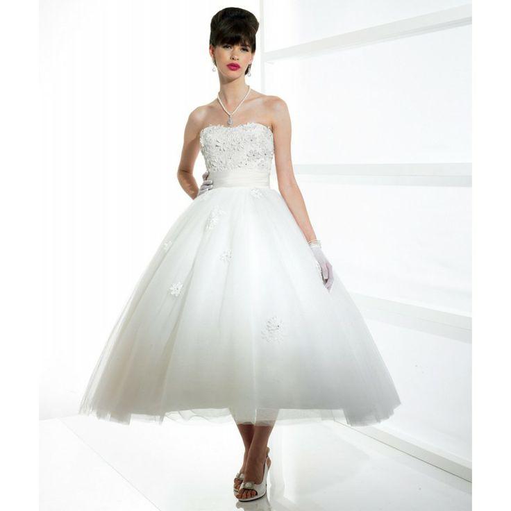 Short Beach Wedding Dresses | Strapless Ball Gown Short Beading Beach Wedding Dress hiwdt29