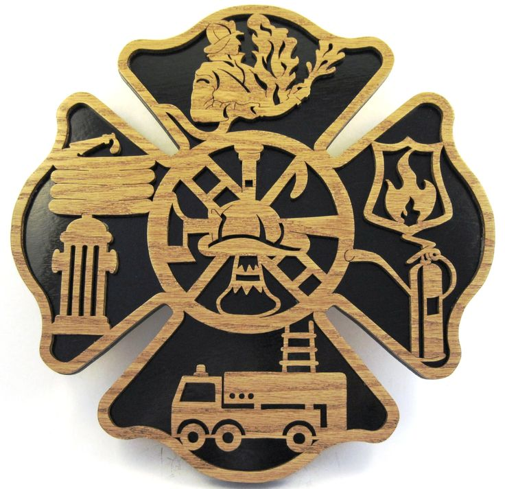 Firefighter wall plaque scroll saw cut24cr by ScrollSawTreasures, $53.00