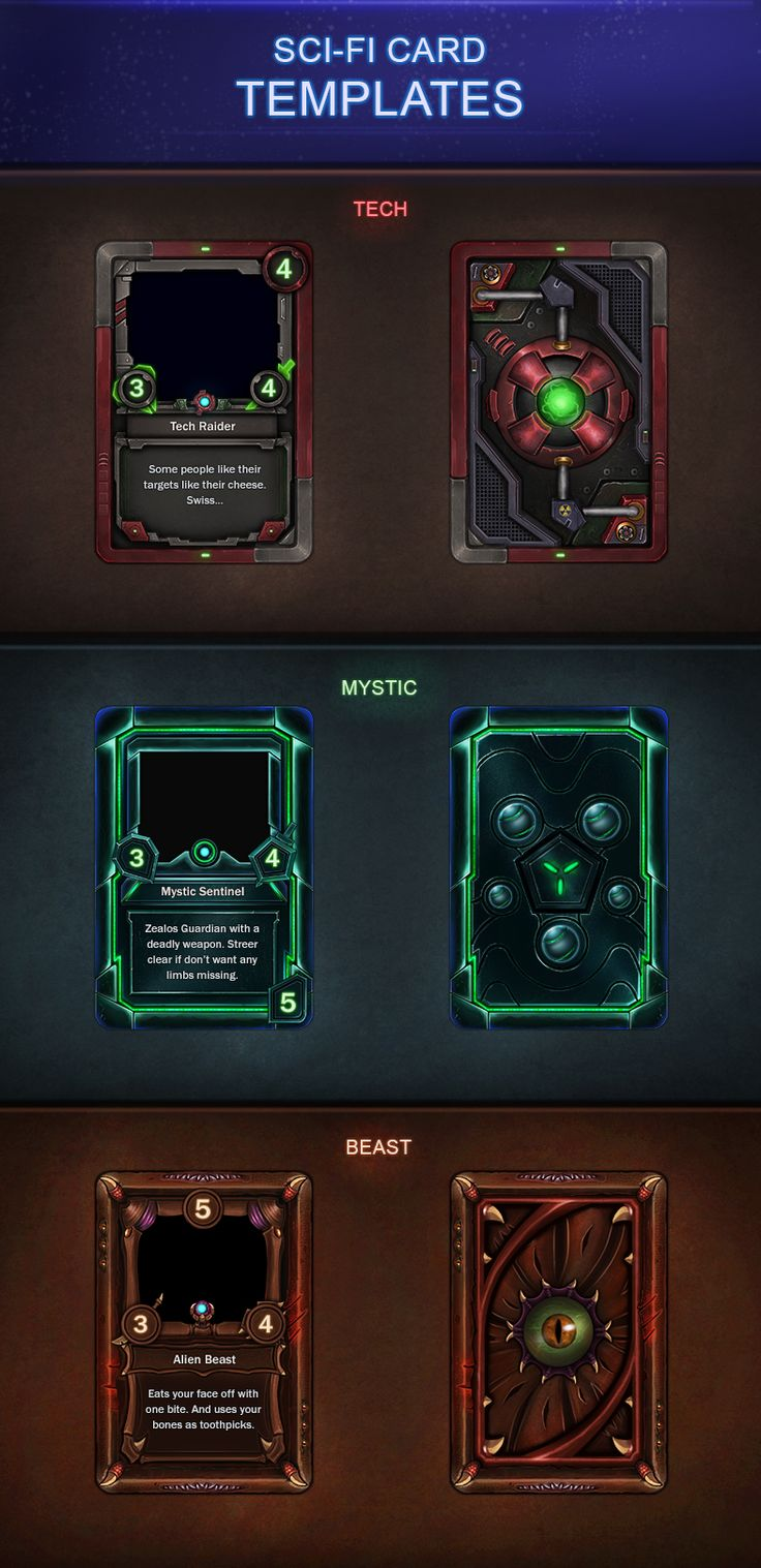 Sci-Fi Card Templates 2.0 by VengeanceMK1 on DeviantArt