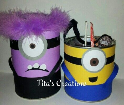 Recycled formula cans minions