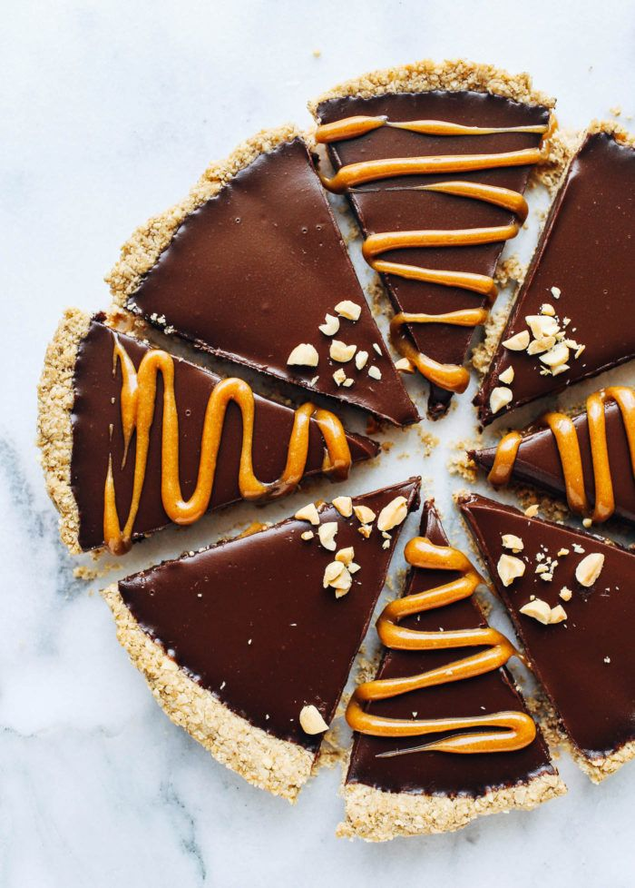 Peanut Butter Lover's Chocolate Tart (Made without dairy, gluten, soy, or refined sugar)