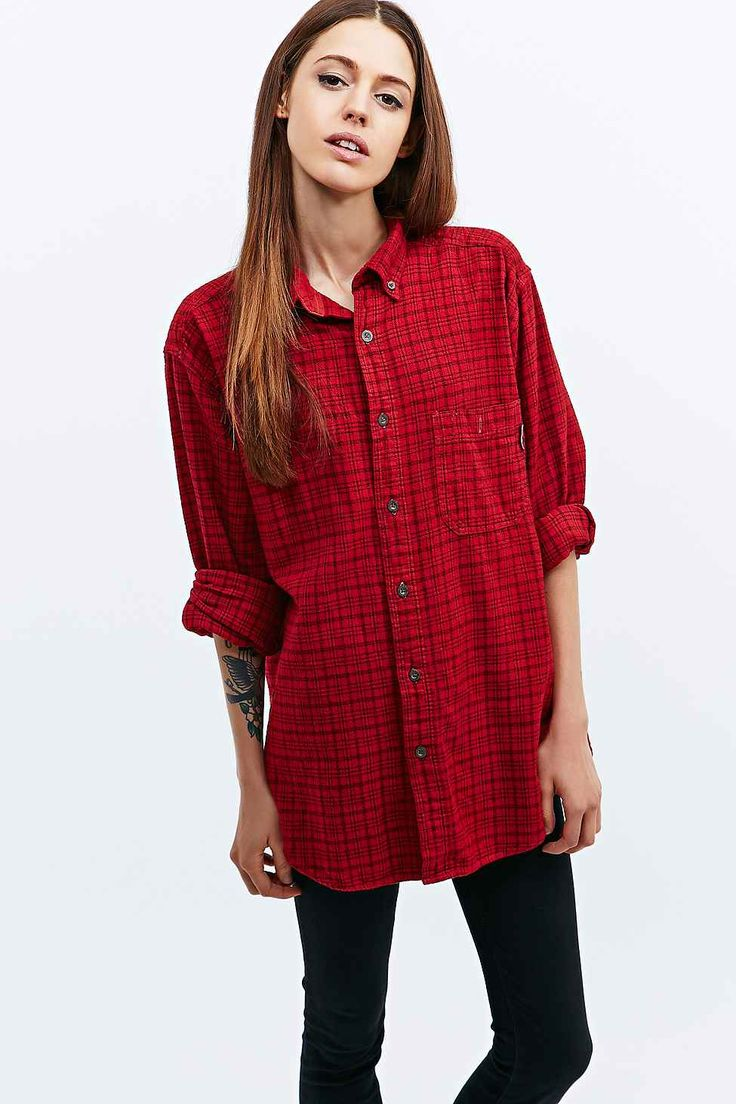 Urban Renewal Vintage Customised Overdyed Plaid Shirt in Red