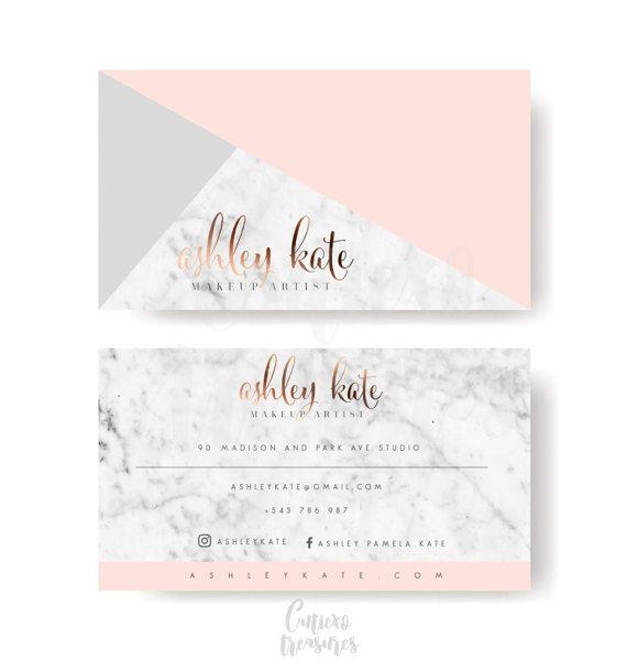 Feminine geometry pink business card by CutiexoTreasures on Etsy