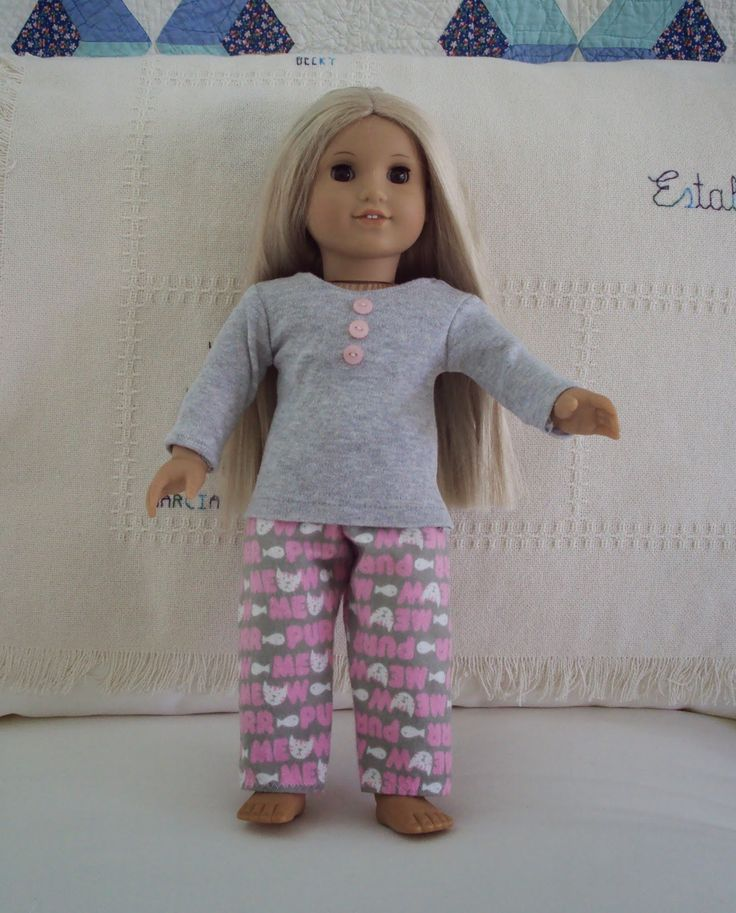 "Easy pajamas for American Girl Doll (18"", 48 cm) - free patterns."