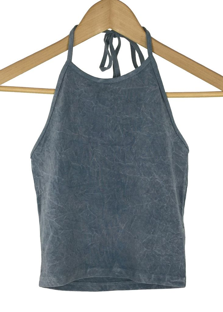 acid wash scratch halter crop top (grey)