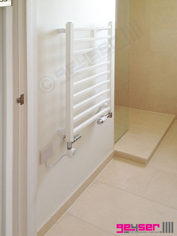 "Geyser ""LINEO"" Bianco (White) Square Profile, Heated Towel Rail / Electric Towel Rail / Dual Fuel Towel Rail"