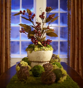 Are you decorating your table for a holiday party? Learn how to make your own moss & berry centerpiece :) #Video: http://pinterest.com/pin/240590805065199083/