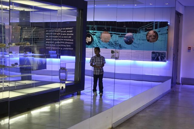 Exploring the Sterkfontein Caves fossil exhibition. Cradle of Humankind World Heritage Site, Gauteng, South Africa.