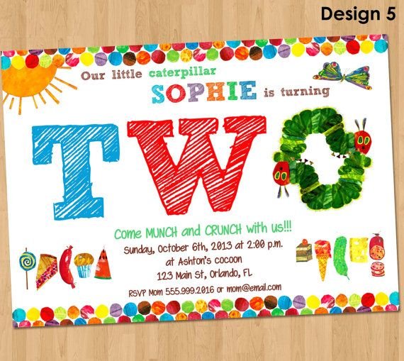 Very Hungry Caterpillar Invitation Second Birthday Party Printable