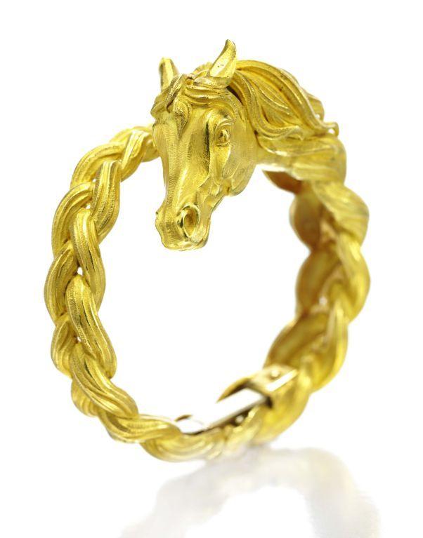 Hermes A Gold Horse Bangle Bracelet