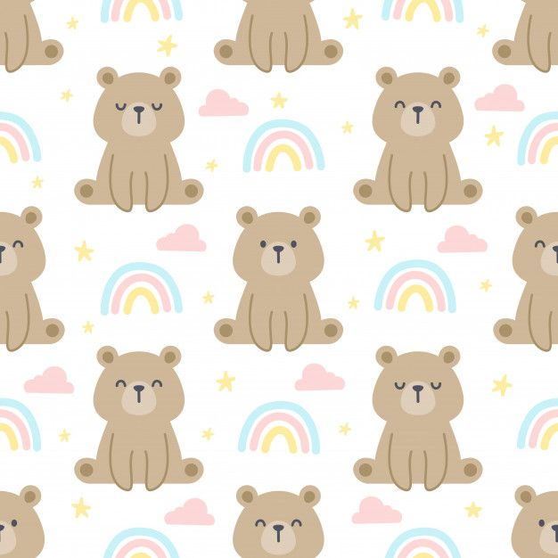 Teddy Bear And Rainbow Seamless Pattern Background Baby Decals Custom Decals Room Decals