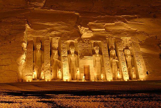 Temple of Nefertari at night  Abu Simbel  Egypt