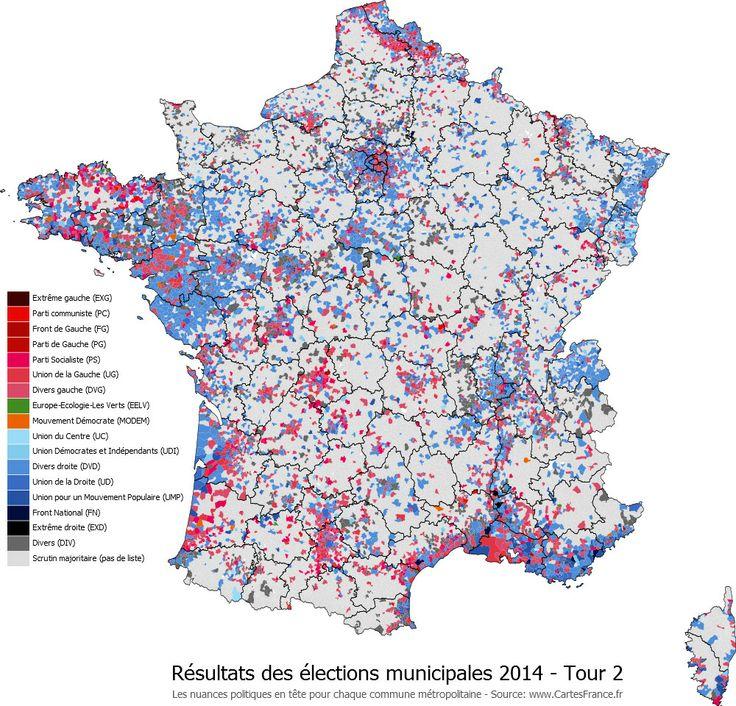 Carte des résultats du second tour des élections municipales 2014