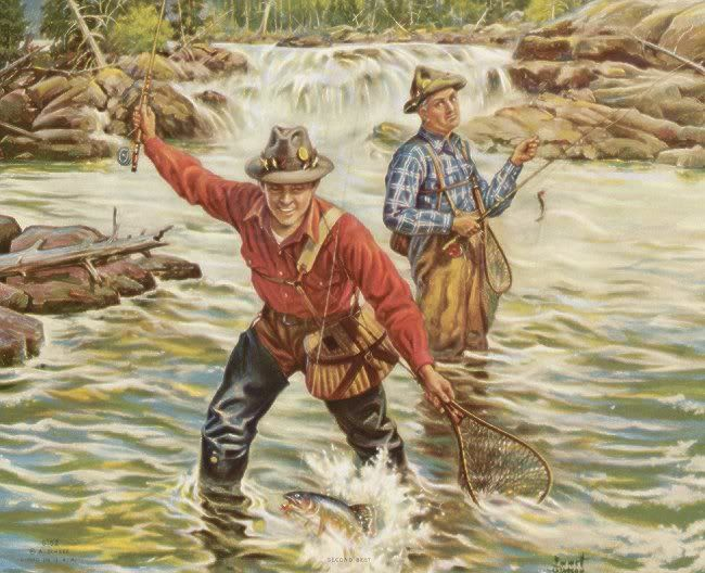 """Vintage fly fishing scene..very """"campy"""": Vintage Fish, Fish Classic, Fish Interesting, Angles Art, Vintage Prints, Vintage Signs, Chass, Vintage Outdoor, Vintage Flying"""