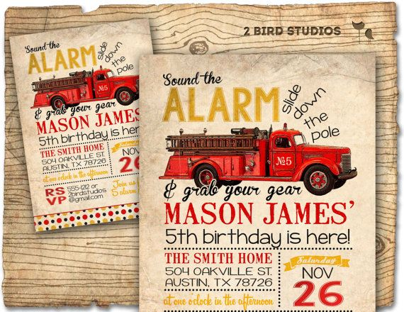 Sound the alarm and grab your gear ... vintage firetruck invitation that guests are sure to LOVE ;)
