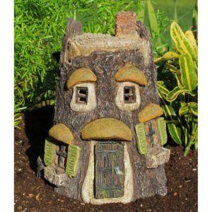 Hoot Owl Fairy Tree House with Hinged Door: Fairy Garden Miniature House