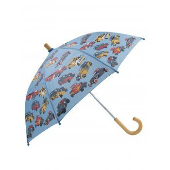 Rain, rain, don't go away, Hatley children's umbrellas are here to save the day!  This Farmer Jack children's umbrella is covered in bright Hot Rod Cars. With Hatley's motto, to help children to see the bright side of grey rainy days, this Hot Rods kids umbrella will ensure the rain does not spoil your little ones crop.  http://www.theumbrellashop.co.uk/kids-c29/hatley-hot-rods-car-childrens-umbrella-in-blue-p405