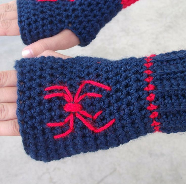 Spiderman Fingerless Gloves. $18.00, via Etsy.