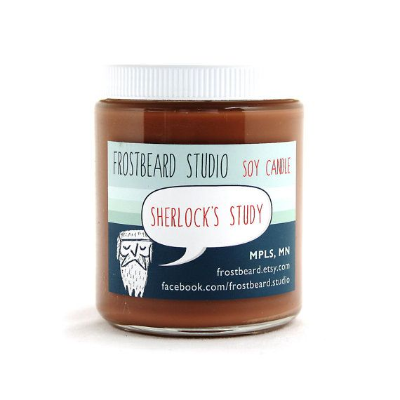 Sherlock's Study -- Book Lovers' Scented Soy Candle     -- Sherlock Holmes -- 8oz jar