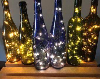 Green Cabernet Style Wine Bottle Candle Holder by MoonshineLamp