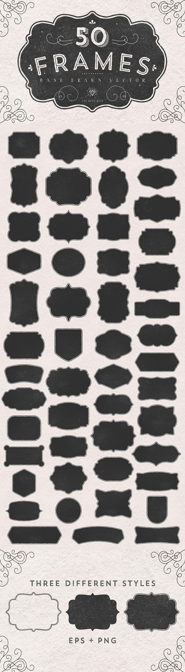 50 Frames Hand Drawn Vector by Kite Kit | The Comprehensive, Creative Vectors Bundle Mar 2015 from Design Cuts