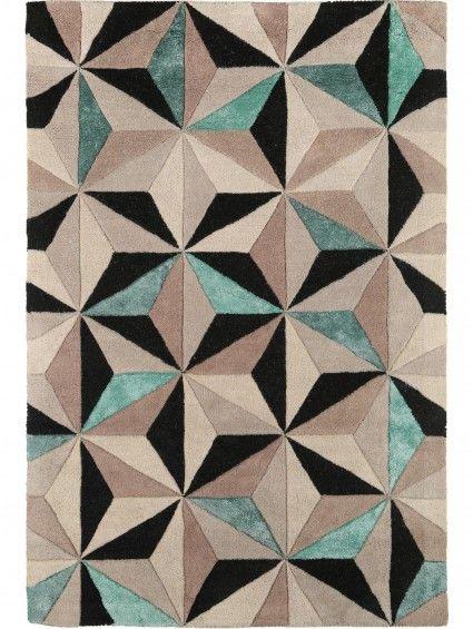 Sternen-Mosaic auf dem benuta Wollteppich Triangles Beige/Türkis
