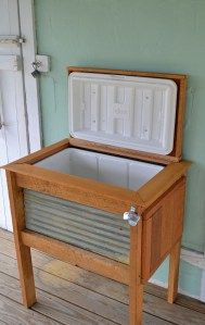 Awesome DIY Make a stand for your cooler= side table on the porch becomes a party helper!!
