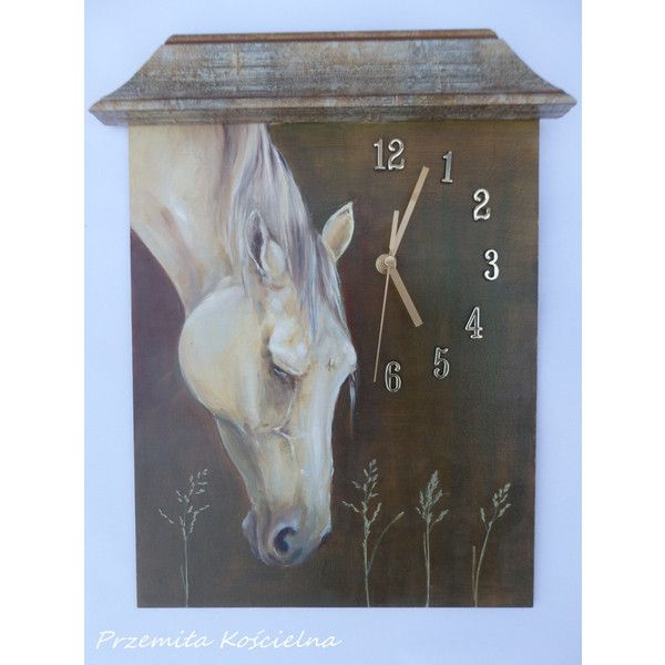 HORSE PORTRAIT, PAINTED wall clock, Equine art, Original oil painting,... (230 PLN) ❤ liked on Polyvore featuring home, home decor and wall art