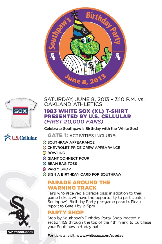 Join The @Chicago White Sox Saturday 6/8 In A Celebration Of Southpawu0027s  Birthday
