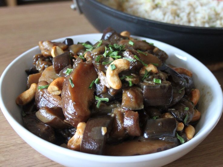 Chinese Mushrooms, Aubergine & Cashew Nuts: a traditional Chinese dish from our Chinese themed week.  Recipe can be found on our blog site