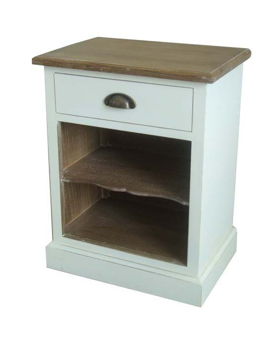 Champagne Whitewash Bedside Table  The Champagne whitewash bedside table made from exposed natural solid wood with contrasting whitewash finish has 1 drawer with antique brass handle which sits above 2 shelves; ideal for any country home.