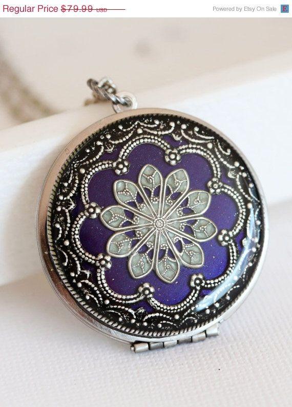 ON SALE Locket, Silver Locket,Purple Locket,filigree locket necklace,photo locket , vintage locket,Wedding Necklace,bridesmaid necklace