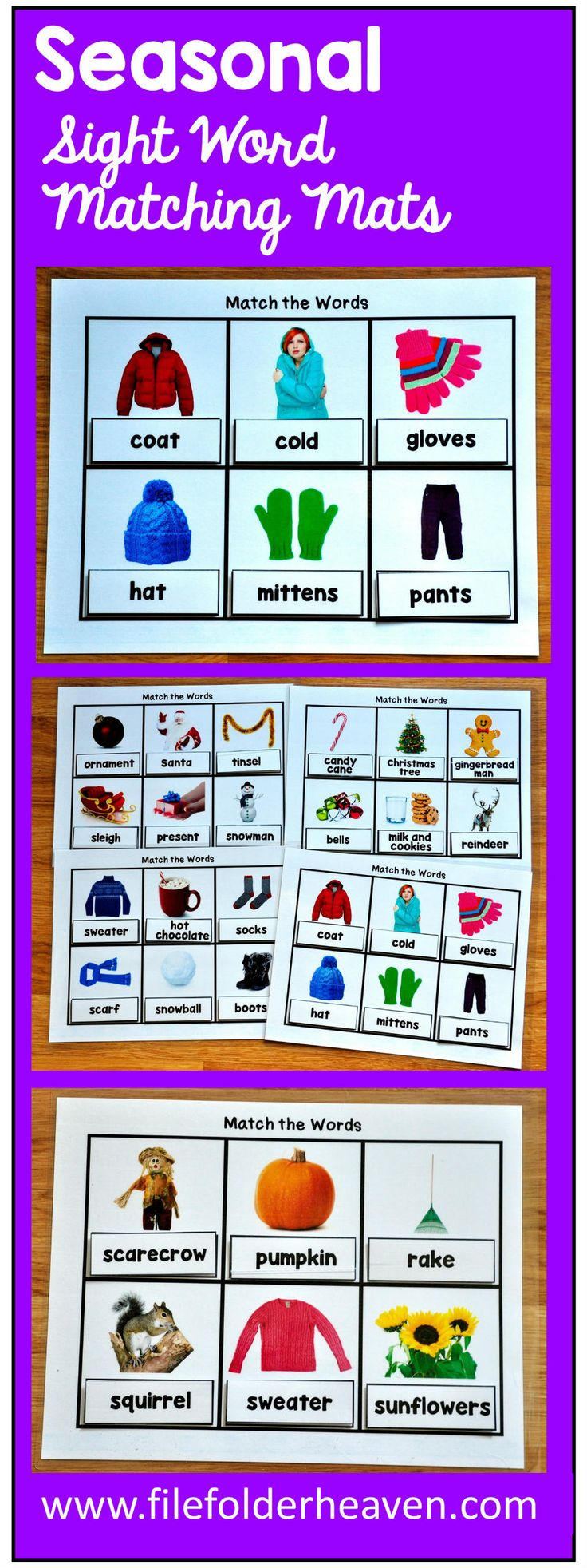 These Seasonal Vocabulary Words Matching Mats will be a growing bundle! This set focuses on seasonal words and provides a versatile way for students to practice with functional sight words.  This set currently includes 12 different matching mats that focus on 5 different seasonal themes.  All matching mats include real photos. This bundle will grow!