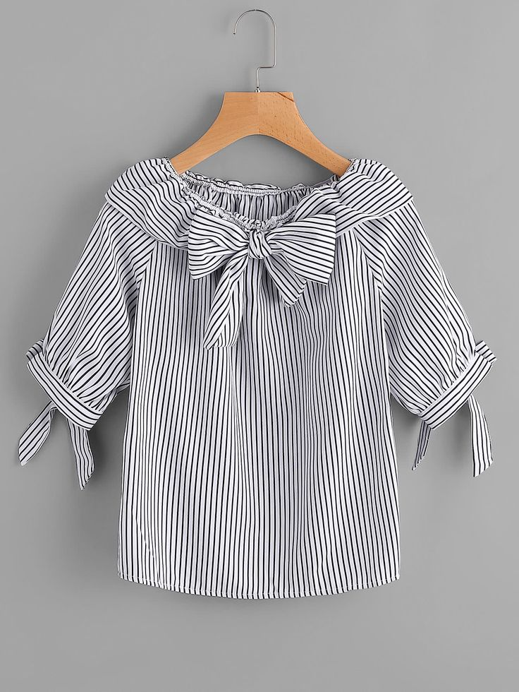 Shop Fold Over Neckline Pinstripe Bow Tie Detailed Top online. SheIn offers Fold Over Neckline Pinstripe Bow Tie Detailed Top & more to fit your fashionable needs.