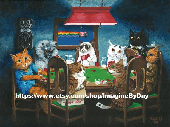 bought this print today, can't wait to get it! Grumpy Cat, internet cats playing poker 9x12 print via Etsy