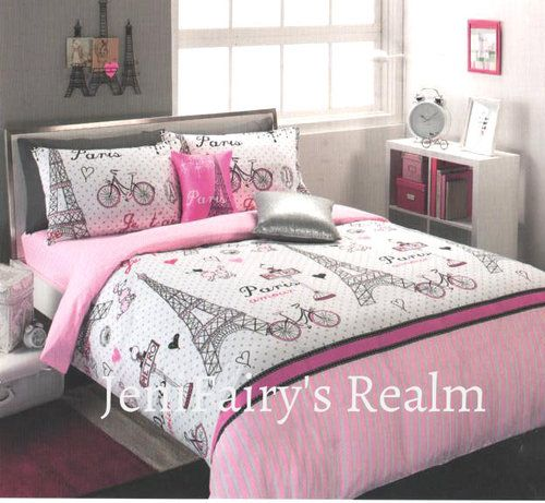 Paris Chic Ooh La La Pink Black Silver Queen Quilt Cover Set Fitted Sheet