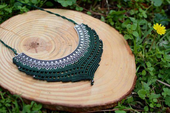 macrame necklacemacrame pedanthandmade necklacehandmade
