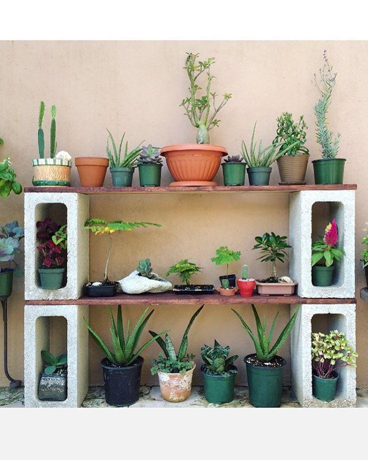 DIY Cinder Block Plant Shelf. #doityourself #potting #table Herb Garden On  Deck