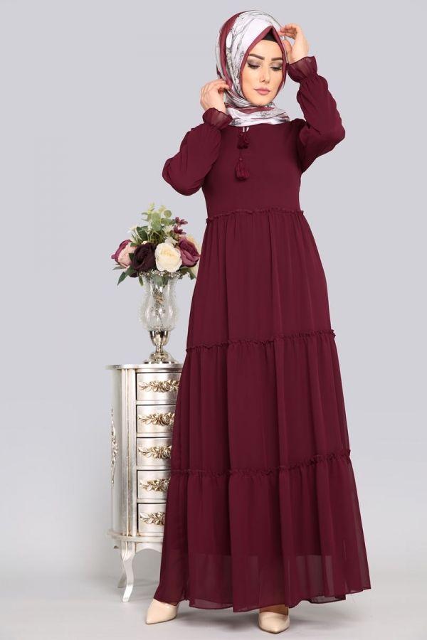 Firfirli Sifon Tesettur Elbise Akt3019 Bordo Sifon Elbise Elbise Modelleri Elbise