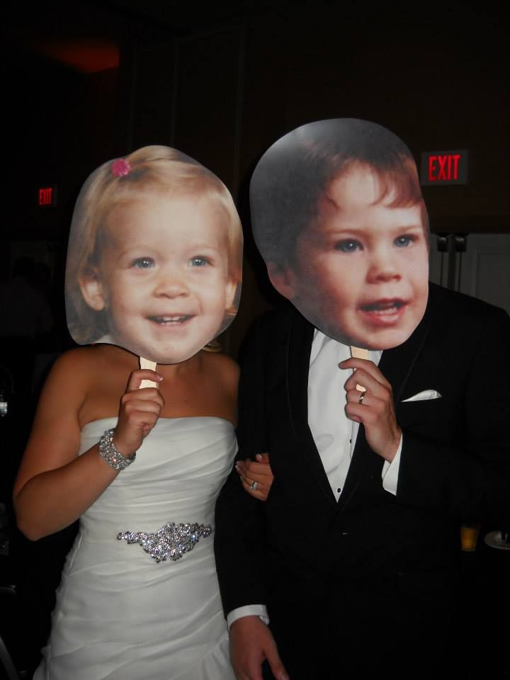 Hold em' up! Awesome wedding idea by Build-A-Head…funny and cute! But could be done for just Halloween too or another occasion :) I have always wanted to have a cocktail party where each couple picks out the worst growing up pictures of them and just la  | followpics.co
