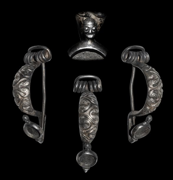 Extremely Rare La Tène Fibula with Celtic Head, 3rd Century BC  The human head was considered extremely important in Celtic religion, as attested in both the archaeological record and literature. Classical authors comment on head-hunting and skulls have been found at many Celtic shrines or deposited in bogs and rivers as offerings. In Irish and Welsh vernacular sources the heads of heroes were believed to possess magical properties after death. The emphasis on the human head is well attested…