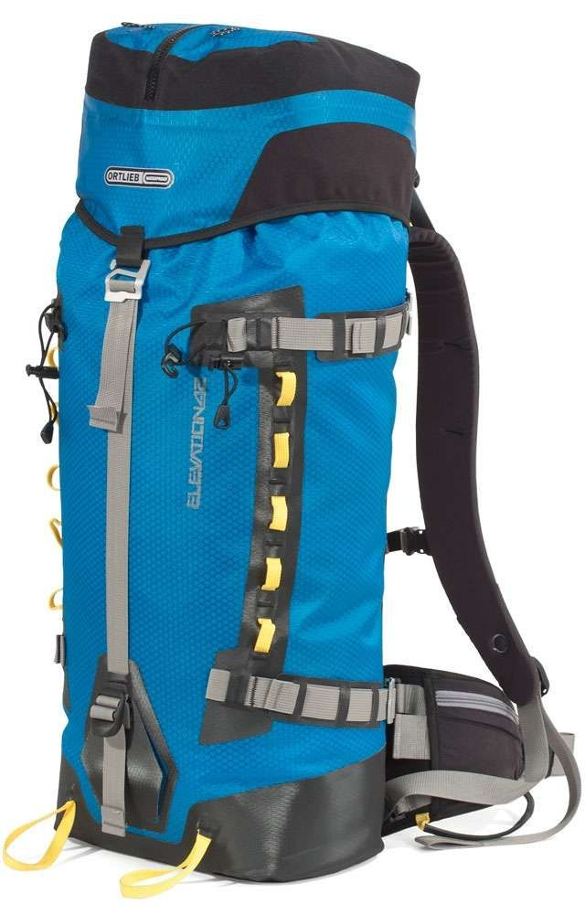 Ortlieb Elevation Pro Back Packs Ocean Blue 32ltr and 42ltr. ORTLIEBs newest model the innovative alpine and mountaineering backpack Elevation Pro reliable for rock and ice. It is entirely designed for functionality under most extreme conditions. The proven roll closure underneath the flap and the external flap compartment guarantee a high IP rating with regards to being waterproof and dustproof.