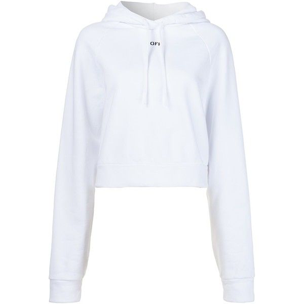 Off-White Off Print Hoodie ($434) ❤ liked on Polyvore featuring tops, hoodies, white, patterned tops, patterned hoodies, cotton hooded sweatshirt, hooded pullover and cotton hoodie