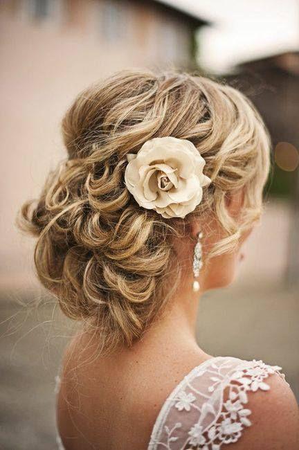 wedding hair #flowers #curls #updo