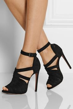 Heel measures approximately 115mm/ 4.5 inches with a concealed 10mm/ 0.5 inches platform  Black suede Buckle-fastening ankle strap