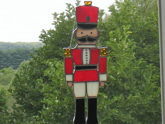 Stained Glass Toy Soldier Nutcracker In Red Military
