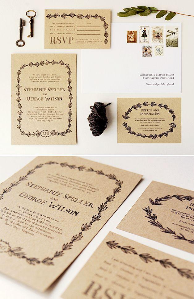 Libre para imprimir rústico privado y papelería invitación de la boda | mejor día