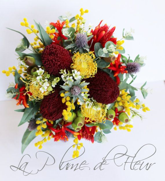 Garnet - Australian native wedding bouquet. Banksia, kangaroo paw, pin cushions, Geraldton wax, wattle, gumnuts, native foliage.